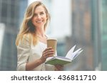 cheerful woman in the street... | Shutterstock . vector #436811710