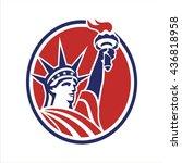 liberty american flag circle   Shutterstock .eps vector #436818958