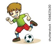 Boy Kick Ball Cartoon Vector
