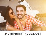 smiling young hipster couple... | Shutterstock . vector #436827064