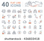 set vector line icons in flat... | Shutterstock .eps vector #436833418