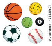 many ball in many type of sport ... | Shutterstock .eps vector #436835674
