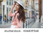 beautiful woman walking and... | Shutterstock . vector #436839568
