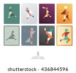 set of eight tangram people.... | Shutterstock .eps vector #436844596