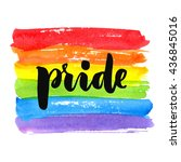 gay pride. text on rainbow... | Shutterstock .eps vector #436845016