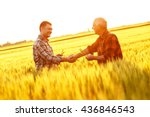two farmer standing in a wheat... | Shutterstock . vector #436846543