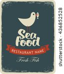 retro banner for a seafood... | Shutterstock .eps vector #436852528