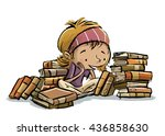 child surrounded by books   Shutterstock . vector #436858630