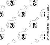 happy bees. vector seamless...   Shutterstock .eps vector #436861060