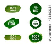 labels with vegetarian and raw... | Shutterstock .eps vector #436863184