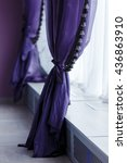 purple curtains along window... | Shutterstock . vector #436863910