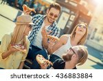 close up of four young cheerful ... | Shutterstock . vector #436883884