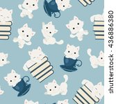 Stock vector playful kittens seamless pattern white cats on blue background 436886380