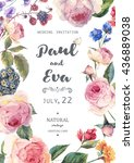 Vintage watercolor floral vector wedding invitation with English roses and wildflowers, botanical natural rose Illustration. | Shutterstock vector #436889038