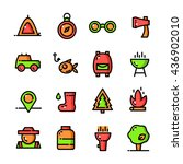 thin line camping icons set ...
