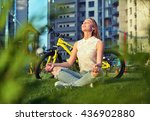 young woman sitting in lotus... | Shutterstock . vector #436902880
