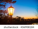 retro street lamp in the city... | Shutterstock . vector #436908184