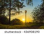 city park scene at sunset... | Shutterstock . vector #436908190