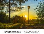 city park scene at sunset... | Shutterstock . vector #436908214