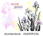 watercolor background with hand ... | Shutterstock .eps vector #436909156