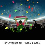 hungary fan stand up and hand...   Shutterstock .eps vector #436911268
