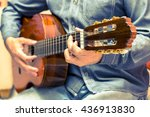 vintage guitar player in... | Shutterstock . vector #436913830