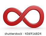 red infinity sign on white... | Shutterstock . vector #436916824
