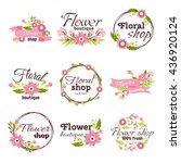 Stock vector bright logo for flower shop 436920124