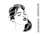 stylized portrait of a girl   Shutterstock .eps vector #436924150