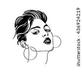 stylized portrait of a girl   Shutterstock .eps vector #436924219