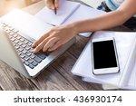 business women using laptop and ... | Shutterstock . vector #436930174