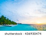 beautiful tropical beach and...   Shutterstock . vector #436930474