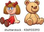 Teddy Bear And Doll. Vector...