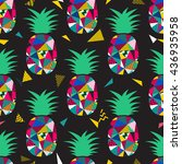 pineapple seamless pattern... | Shutterstock .eps vector #436935958