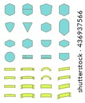 set of vector ribbon and label | Shutterstock .eps vector #436937566