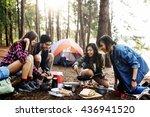 breakfast camping eggs relax... | Shutterstock . vector #436941520