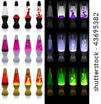 set of lava lamps in different... | Shutterstock .eps vector #43695382