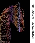 horse head zentangle stylized. | Shutterstock .eps vector #436954288
