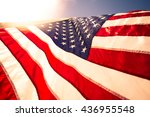 Closeup Usa American Flag The...