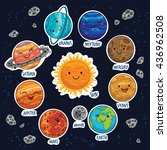 set of stickers with cute... | Shutterstock .eps vector #436962508
