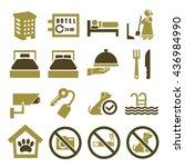 hotel  inn icon set   Shutterstock .eps vector #436984990