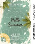 hello summer beach party retro... | Shutterstock .eps vector #436998430