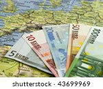 european currency on europa map | Shutterstock . vector #43699969