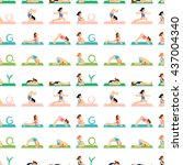 girl doing yoga pattern ... | Shutterstock .eps vector #437004340