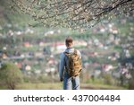 man with a backpack standing... | Shutterstock . vector #437004484