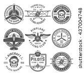 Airplane Emblem Or Labels Set...