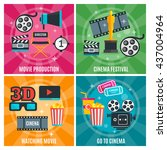 cinema industry concept with... | Shutterstock .eps vector #437004964