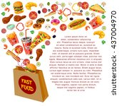 fast food composition with... | Shutterstock .eps vector #437004970