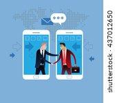 deal on mobile phone. handshake ... | Shutterstock .eps vector #437012650