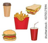 fast food collection hamburger  ... | Shutterstock .eps vector #437017594